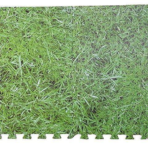 Easimat Dalles de sol effet herbe Eva Tapis en mousse souple Protection Kid Jouer Chambre, 1 couleur, 3 Pack (12 Tiles)
