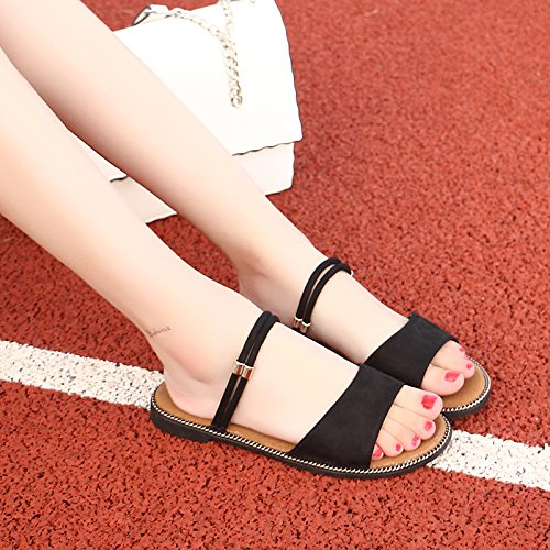 71374b6cb22cf5 LGK FA Summer Women S Sandals Summer Sandals Flat Girls Two Sandals Beach  Slippers 40 Black - Buy Online in Oman.