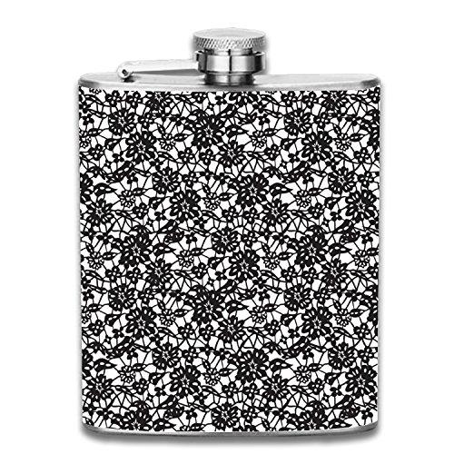 Flachmann Pocket Fläschchen modernes, anspruchsvolles, diskret Alkohol Fläschchen Set Sleek Kantinen halten, dass Whiskey, Rum, Scotch, Wodka, Edelstahl, Flower Lace9, Einheitsgröße (Kantine-set)