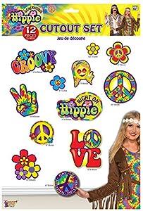 Forum Novelties X75625 Hippie - Set de cortes de decoración unisex para adulto, multicolor, talla única