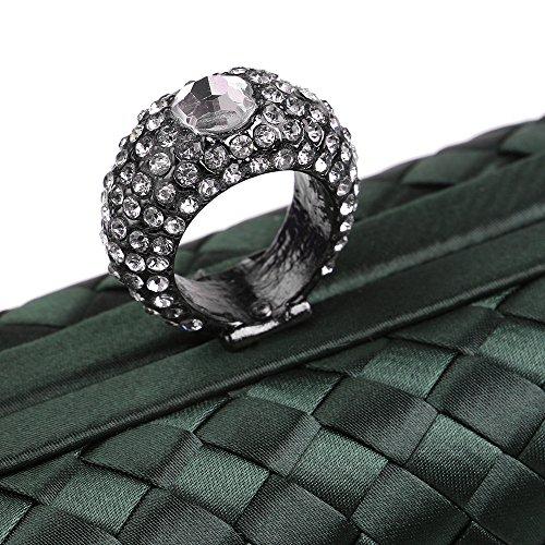 Flada Girls und Women's Hand-made Woven Handtasche Evening Clutch Hardcase Geldbörse Party Taschen lila Green
