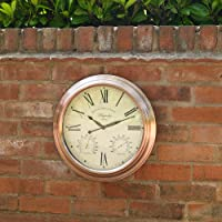 "15"" Magnolia Large Copper Effect Hanging Outdoor Garden Wall Clock with Temperature & Hygrometer by Kingfisher"