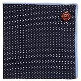 Puentes Denver Marineblau Einstecktuch 100% Baumwolle, Weiß Polka-punktiert Design mit Hellblau Naht, Knopf Kollektion Einstecktücher