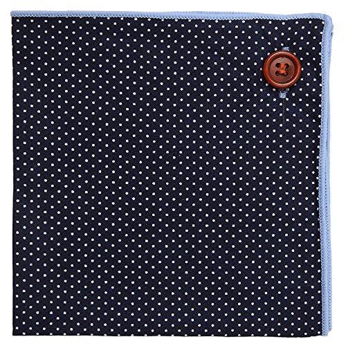 Marineblau Einstecktuch 100% Baumwolle, Weiß Polka-punktiert Design mit Hellblau Naht, Knopf Kollektion Einstecktücher (Taschentuch-kollektion)