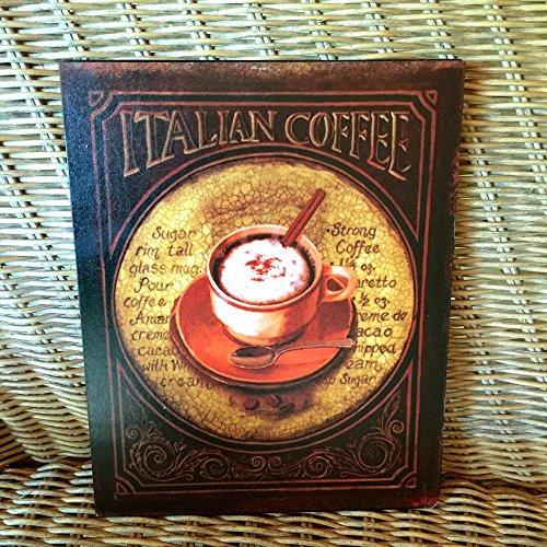 Antikas - Cafe Schild wie Emaille Bild für die Küche, Blechschild Kaffee, Kaffeetasse