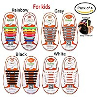 4 Pair Lazy No Tie Silicone Shoelace for Adult and Kids by Meideli, Elastic Tie-free Wash-free Waterproof Rubber Shoe Laces for Sneakers Running Shoes Boots Board Shoes and Casual Shoes (For Kids (Black+White+Gray+Rainbow))