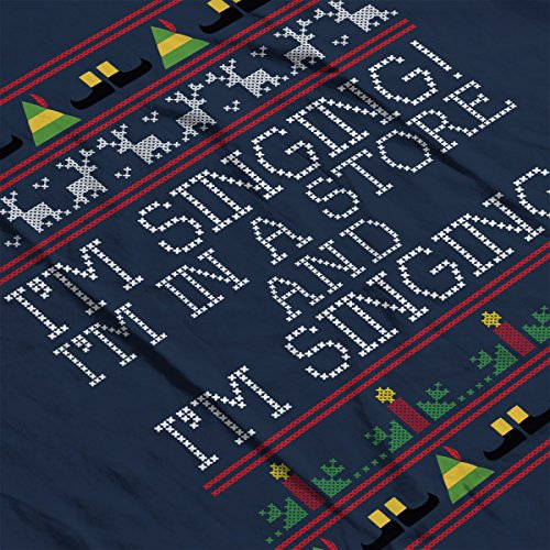 Im Singing Elf Quote Christmas Knit Men's Vest Navy Blue