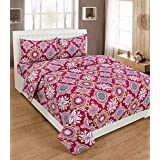Amayra Home Home Premium Polycotton Feels Like Glace Cotton Bedsheet With 3D HD Flower Printed Double Bed Bedsheet With 2 Pillow Covers Vi2644