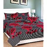 Geo Nature Cotton 140 TC Bedsheet (Standard_Red)