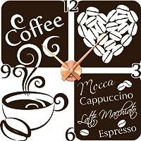 Wandtattoo Uhr mit Uhrwerk Wanduhr Küche Kaffee Tasse Herz Kaffeebohne Zahl (Uhr Kupfer//080 braun)