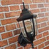 Klassische Außenwandleuchte Schwarz Metall Glas H:38cm E27 wetterfest Balkon Terrasse Laterne außen
