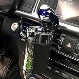 FMS Tragbare Auto Aschenbecher mit deckel und blauer LED Licht für Getränkehalter oder lüftung (Schwarz)