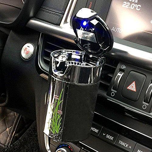 Fms auto posacenere solare con luce led blu portatile posacenere con supporto (nero)