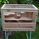 Melko® Kleintierkäfig aus Holz, 60 x 35 x 42 cm, inklusive klappbarer Rampe, 5 stöckig, Nagervilla Hamsterkäfig Mäusekäfig