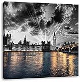 wunderschöne Westminster Abbey mit Big Ben schwarz/weiß, Format: 40x40 auf Leinwand, XXL riesige Bilder fertig gerahmt mit Keilrahmen, Kunstdruck auf Wandbild mit Rahmen, günstiger als Gemälde oder Ölbild, kein Poster oder Plakat