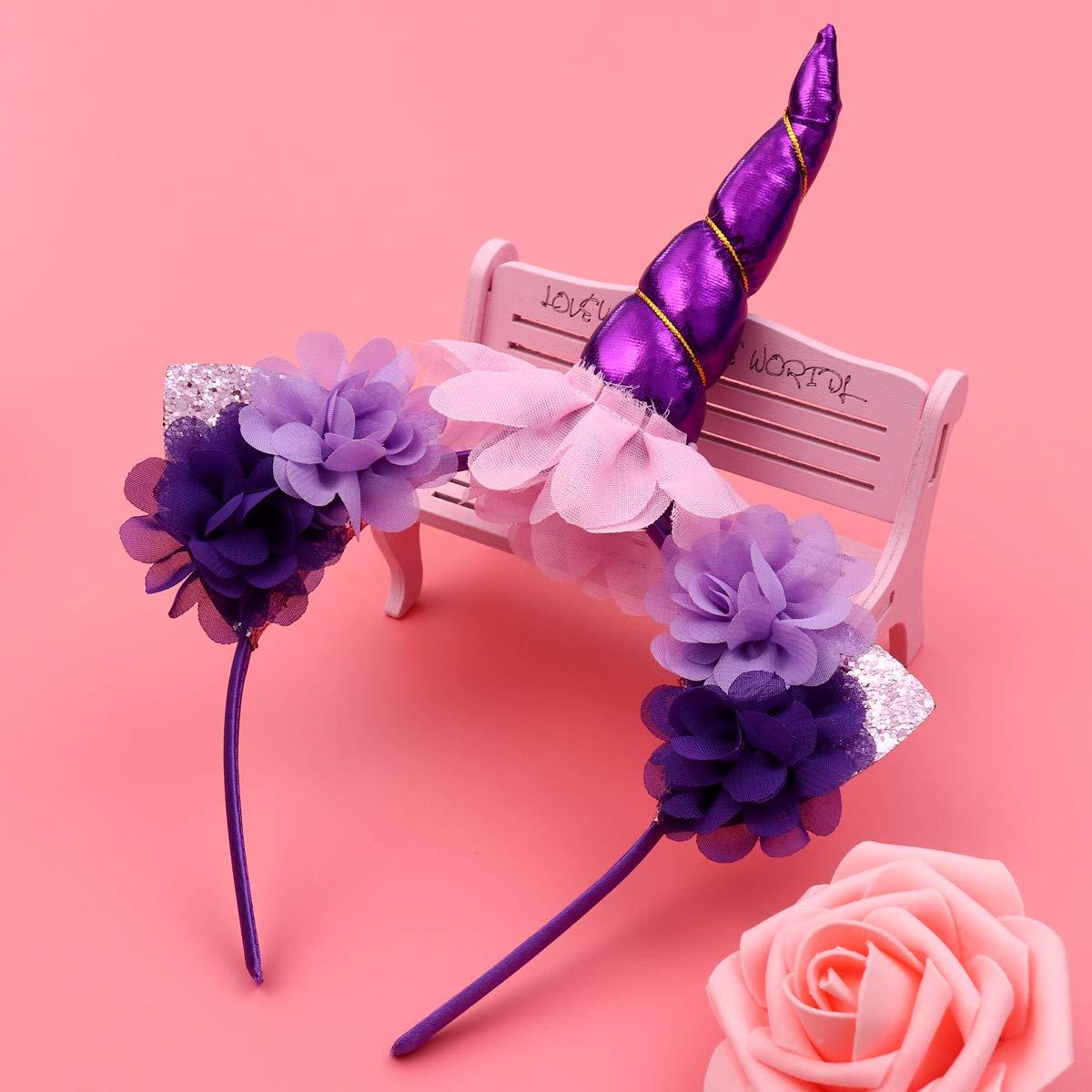 Fenical-Unicorn-Horn-Headband-Rainbow-Tutu-Skirt-Kids-Girls-Unicorn-Costume-Set-Hairband-and-SkirtPurple