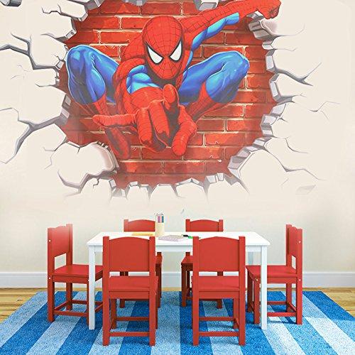 Preisvergleich Produktbild Kinderzimmer Dekor Wand Aufkleber 3D Spider Man Boy Geschenk Wandtattoo Kinderzimmer Wandbild