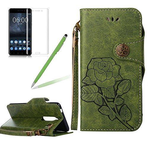 Girlyard Lederhülle für Nokia 5 Wallet Flip Case, Elegant Blumen Retro Floral Muster Design Schutzhülle mit Lanyard Strap Handyhülle Standfunktion Karteneinschub und Magnetverschluß Etui -- Grün