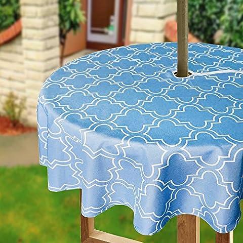 Eforcurtain 152,4cm Round Parapluie Housse de table avec fermeture à glissière Floral géométrique Nappe tissu résistant à l'eau pour terrasse, Polyester, bleu/blanc, 60Inch