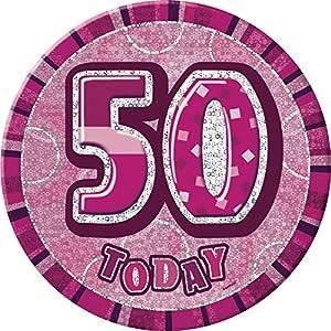 Unique Party Insignia gigante de 50 cumpleaños Color rosa brillante 15 cm 55266