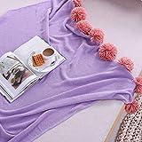Upstudio Warme Schlafsofa Decke Baumwolle farblich passender Kugelteppich Baumwollklimaanlage Decke Wind Sofa Decke Dekorative Decke Foto Decke (Farbe: Lila, Größe: 130 × 160 cm)