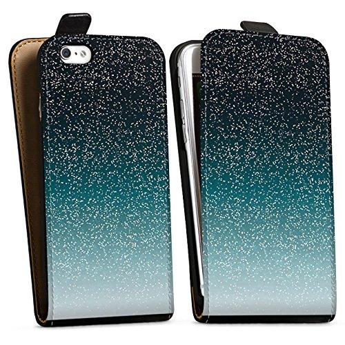 Apple iPhone X Silikon Hülle Case Schutzhülle Glitzer Glitter Muster Downflip Tasche schwarz