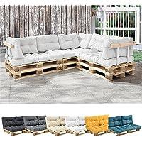 [en.casa] 1x cojín de respaldo para sofá- palé / para europalé [blanco] cojín In/Outdoor - cojín acolchado - válido para exteriores