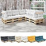 [en.casa] 1x Sitzkissen für Euro-Paletten-Sofa [weiß] Palettenkissen Auflage in/Outdoor Polster Möbel