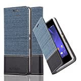 Cadorabo Hülle für Sony Xperia E3 - Hülle in DUNKEL BLAU SCHWARZ – Handyhülle mit Standfunktion und Kartenfach im Stoff Design - Case Cover Schutzhülle Etui Tasche Book