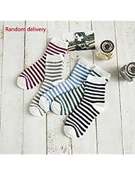 Vollter 5 par Calcetines de las mujeres calientes del algodón coloreado caramelo a rayas ocasionales calcetines de tubo de mediana