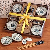 Finsink Vier Personen 12 teilig Sushi Set Blütenblatt-Design (Blau)