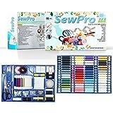 SewPro - Kit de costura con 373 piezas de lujo, una gran variedad de hilos, lanas, agujas, alfileres, tijeras, cinta, botones y mucho + Guía para principiantes, FOLLETO de ideas
