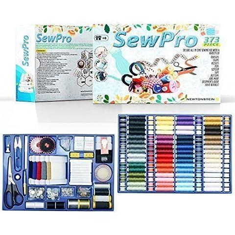 SewPro - Kit de costura con 373 piezas de lujo, una gran variedad de hilos, lanas, agujas, alfileres, tijeras, cinta, botones y mucho + Guía para principiantes, FOLLETO de