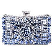 66ecc5b9f9 Pochette Elegante Pochette da Cerimonia Donna Diamante Borsetta da Sera  Borsetta da Matrimonio con Catena per Nozze Festa Partito, Blu