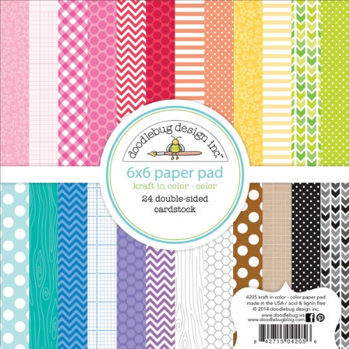 Doodlebug Design 6 x 6-inch Kraft in Color Assortment Paper Pad, Multi-Colour