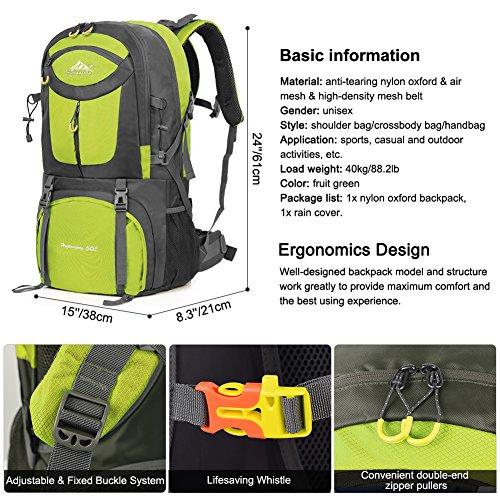 Imagen de vbiger 60l  impermeable  para deporte al aire libre para escalada senderismo trekking alpinismo con cubierta para la lluvia azul  alternativa