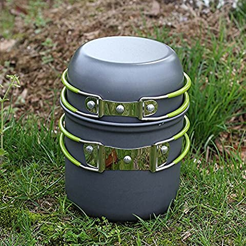 EverTrust (TM) Reino Unido nuevo al aire libre portátil utensilios de cocina Set de cocina de aluminio anodizado non-stick Pot cuenco Camping Picnic senderismo