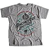 9268g Winchester Brothers Herren T-Shirt Singer Salvage Auto Yard Sam Vampire Pentagram Super Occult Impala Natural(Large,Sportsgrey)