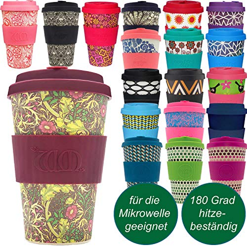 LS-Design Coffee to Go Becher 400ml Seaweed Blumen Ecoffee Cup 2.0 Mikrowelle Bambus Blumen-cup 2