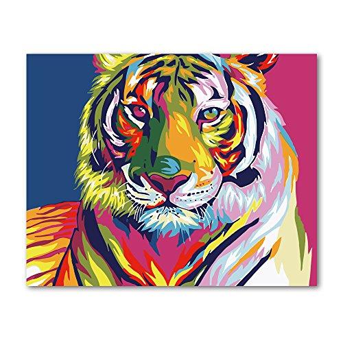 Rihe Malen nach Zahlen DIY Ölgemälde Bunte Tiger Leinwanddruck Wandkunst Dekoration(Ohne Rahmen)