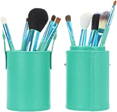Voberry Professional Faux Leather Makeup Brushes Holder Cosmetic Brush Container Cylinder Vessel Green