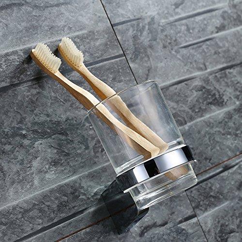 Homelody Zahnputzbecher Glas + Edelstahl Zahnputzset Becherhalter Zahnbürstenhalter Zahnbürstenbecher Zahnputzbecherhalter,Wandmontage -