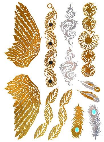 Oh my shop–tys52–planche tattoo tatuaggio ephémère temporaneo metallico body art ali e piume etnico–argento/oro