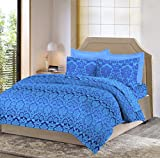 Bombay Dyeing Mimosaa 100 TC Cotton Double Bedsheet with 2 Pillow Covers - Blue