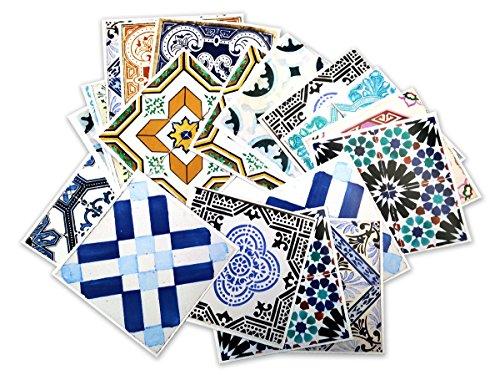 Adhesivos para Azulejos - Paquetes con 32 (10 x 10 cm, Azulejos Españoles | Adhesivos para Pared | Tradicionales Españoles | Decoración de Interiores | Ideas Decorativas | Modelo Español)