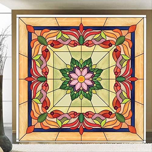 Fandhyy Retro Art Europäischen Stil Glasmalerei Film, Kirchenfenster Kleiderschrank Tür Transluzente Selbstklebende Glasaufkleber 50X100Cm