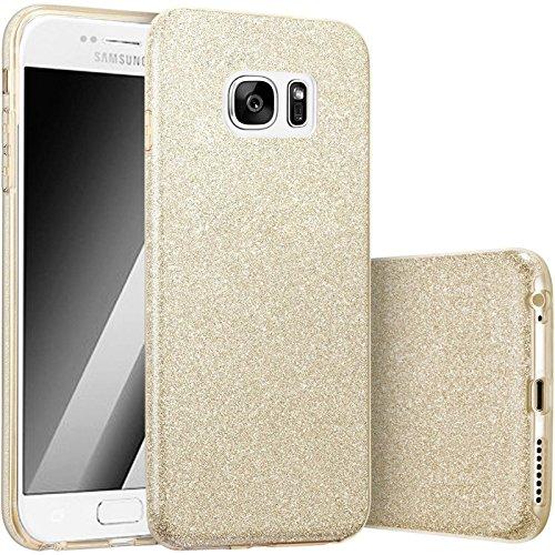 FINOO | Samsung Galaxy S7 Edge Rundum 3 in 1 Glitzer Bling Bling Handy-Hülle | Silikon Schutz-hülle + Glitzer + PP Hülle | Weicher TPU Bumper Case Cover | Gold