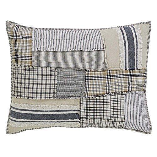 Mill Creek Country Farmhouse Style Gesteppt Bettwäsche und Vorhänge, baumwolle, beige, blue, grey, black, cream, off-white, Standard Sham -