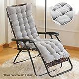 Littlegrasseu - Cojín de repuesto para tumbona de jardín, patio, almohada gruesa para silla reclinable, gris