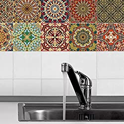 Fairylove 3D Floral Pattern Tile Stickers Set 20 Pcs 10x10cm Waterproof Oilproof Self-adhesive Wallpaper for Kitchen Bathroom Floor Wall Home Decor PVC Decals